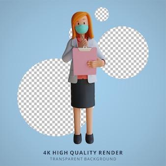 Medico femminile 3d che indossa una maschera che tiene un elenco e che pensa all'illustrazione del design del personaggio