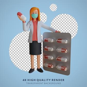 Medico femminile 3d che indossa una maschera che tiene un'illustrazione di progettazione del carattere della compressa della medicina