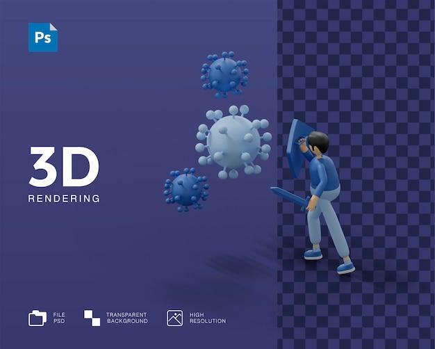 3d combatti l'illustrazione del virus con il medico