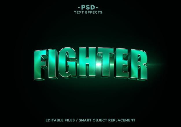 Modello di testo effetto cinematografico 3d combattente