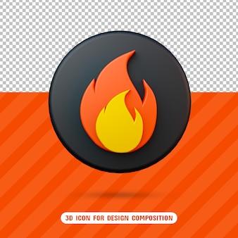 Icona della fiamma del fuoco 3d nel rendering 3d isolato