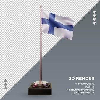 3d bandiera finlandia rendering vista frontale