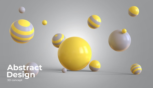 Sfere scorrevoli 3d con il colore dell'anno con forme geometriche 3d