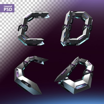 Font 3d impostato in stile cyberpunk. lettere c, d.