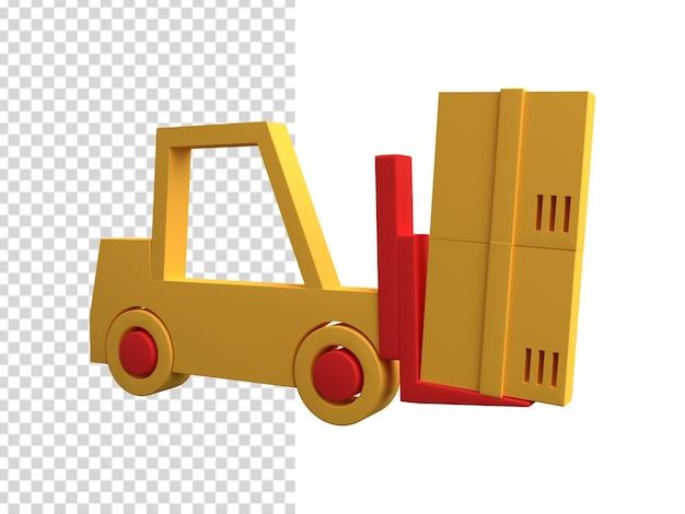 Icona del carrello elevatore 3d. illustrazione del carrello elevatore a forcale 3d. icona del camion del magazzino 3d
