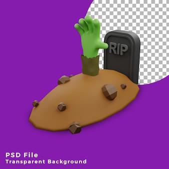 3d frankenstein mano halloween asset icona design illustrazione alta qualità
