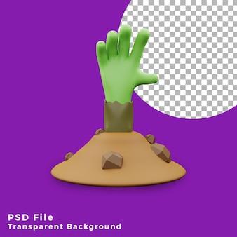 3d frankenstein mano da terra halloween asset icon design illustrazione alta qualità