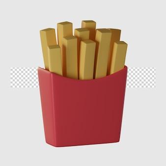 3d patatine fritte icona del fumetto illustrazione