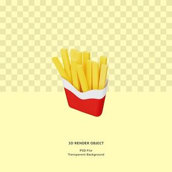 Oggetto illustrativo di patatine fritte 3d reso premium psd