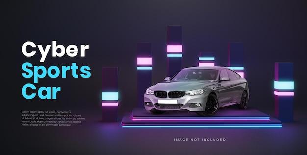 Posizionamento del prodotto dell'automobile della fase del podio futuristico al neon 3d