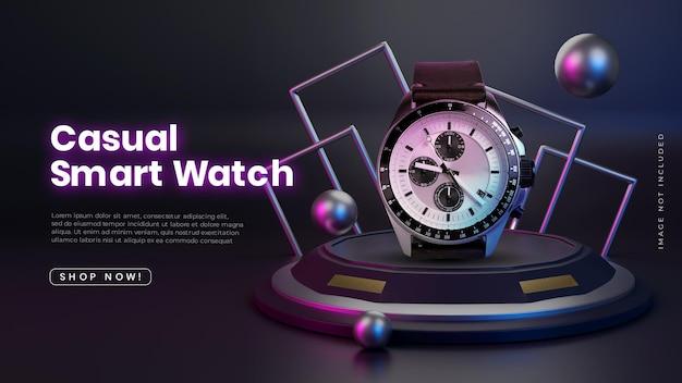 Posizionamento del prodotto della fase del podio futuristico al neon 3d
