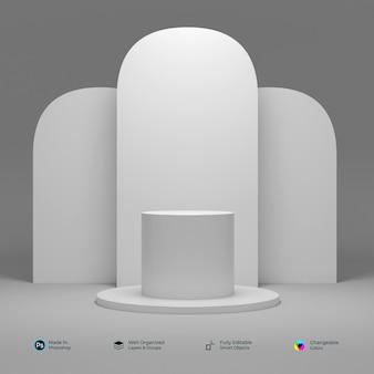 Podio bianco geometrico 3d per l'inserimento di prodotti con design circolare