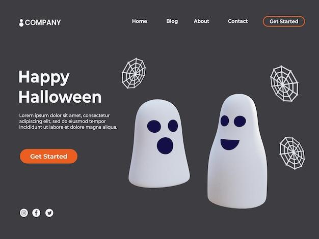 Illustrazione di fantasmi 3d per l'evento di halloween e la pagina di destinazione