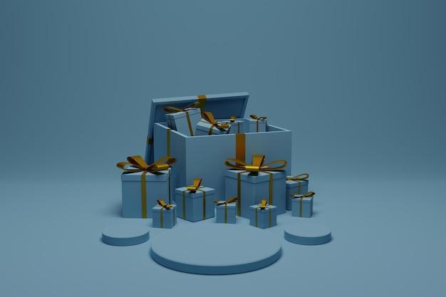 Confezione regalo 3d con sfondo scena podio