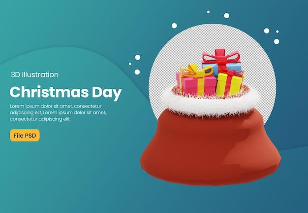 Illustrazione di sacco regalo 3d con tema natalizio