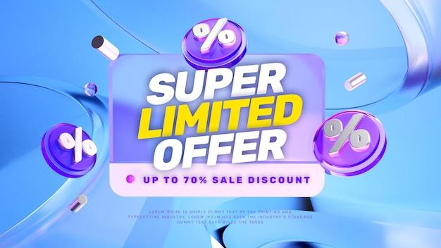 Banner promozionale di vendita di sconto aspetto vetro 3d