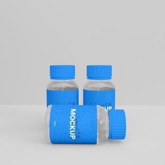 Mockup di bottiglia di integratore in vetro 3d