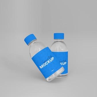 Mockup di bottiglia di medicina supplemento di vetro 3d