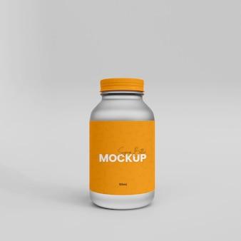 Mockup di bottiglia di vaccino in vetro 3d