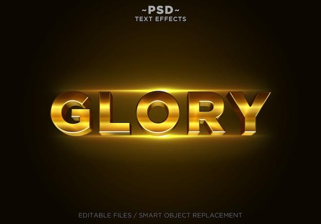 Testo 3d gloria effetti d'oro modello