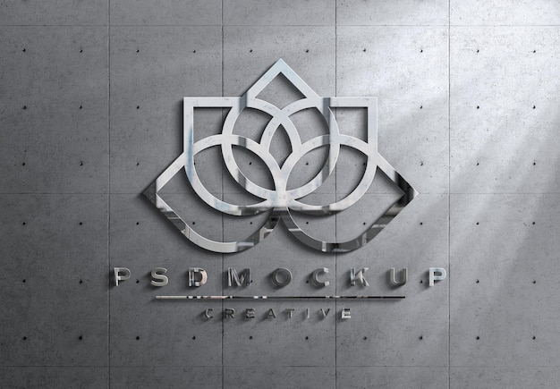 Logo 3d in metallo lucido con luci e ombre mockup