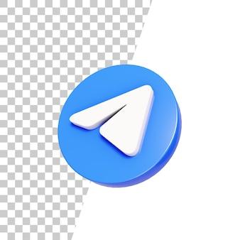 Disegno dell'icona di telegramma lucido 3d