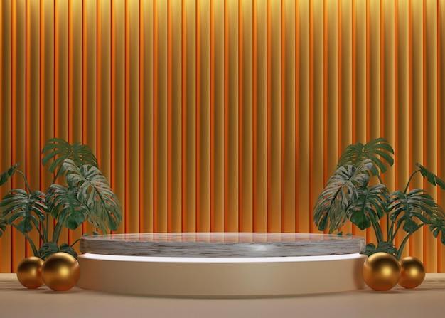 Podio in marmo cilindro d'oro 3d con sfondo a parete di lusso e palline per mockup e display del prodotto