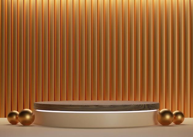 Podio in legno con cilindro in oro 3d con sfondo a parete di lusso e palline per mockup e display del prodotto