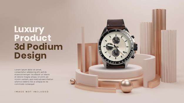 Posizionamento del prodotto sulla fase del podio di lusso elegante dell'oro 3d Psd Premium