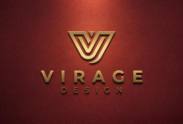 Segnaletica mockup logo oro 3d sulla parete rossa