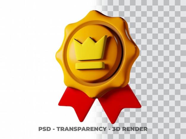 Icona della medaglia d'oro 3d con sfondo trasparente