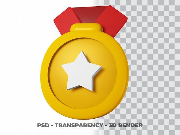 Medaglia d'oro 3d e nastro con sfondo trasparente