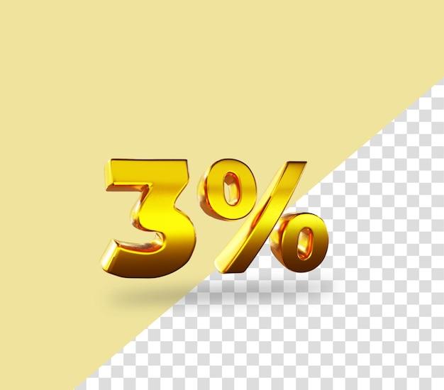 3d oro numero 3 per cento di sconto rendering testo