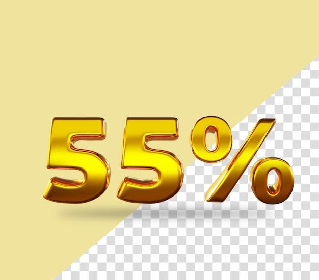 3d gold number 55 percento di sconto sul testo di rendering