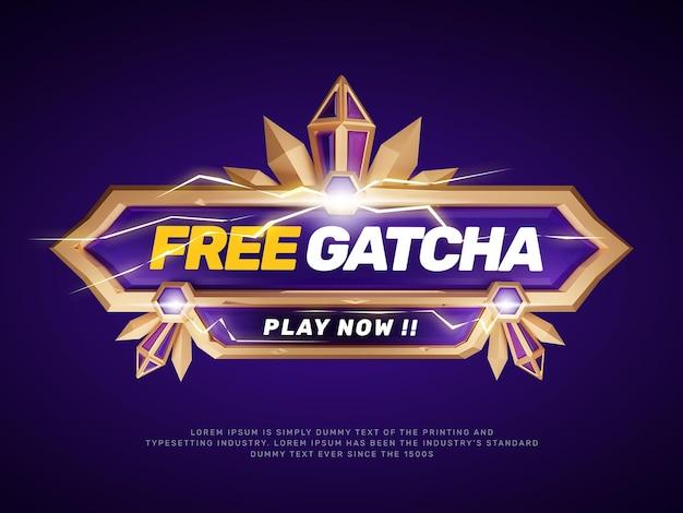 Modello di titolo di promozione del logo del gioco viola oro 3d