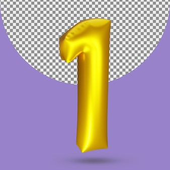 Palloncino foil realistico in oro 3d numero 1
