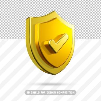 Scudo d'oro 3d nel rendering 3d isolato