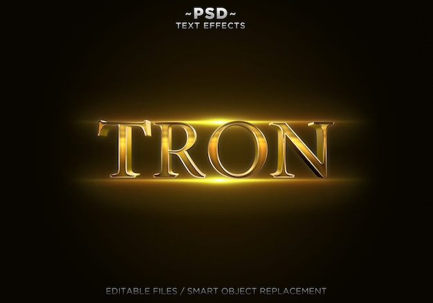 Testo modificabile di effetti 3d gold trone
