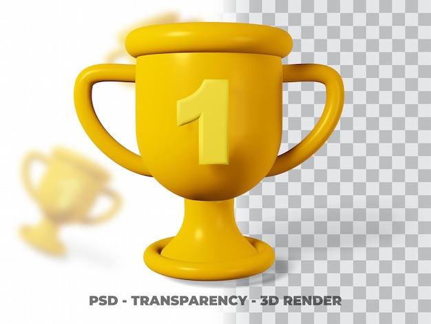 Trofeo d'oro 3d con trasparenza render modeling premium psd