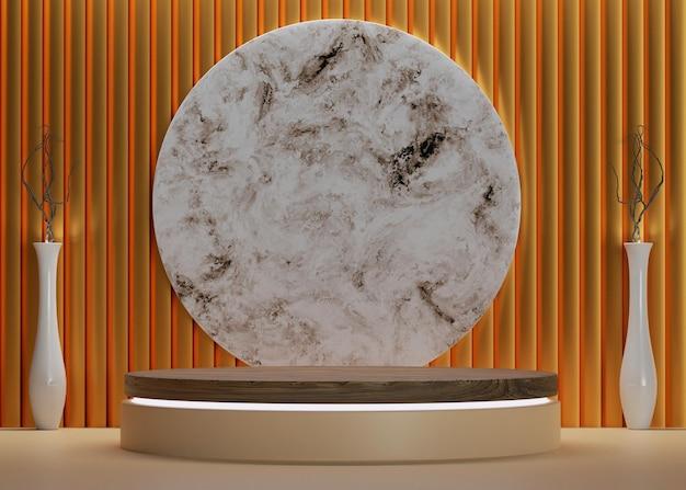 Podio in legno dorato 3d con parete di lusso e fondale circolare in marmo per mockup e esposizione del prodotto