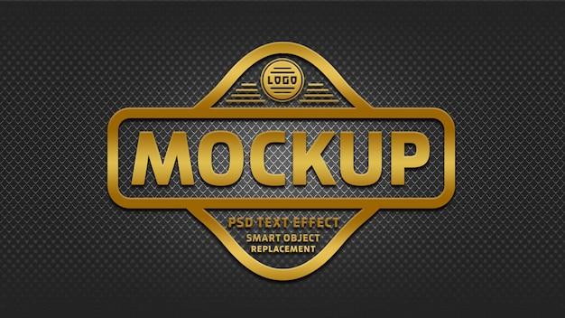 Mockup di effetti di testo distintivo dorato 3d