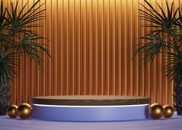 Podio in legno 3d cilindro dorato in blu con sfondo a parete di lusso e alberi per esposizione mockup
