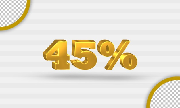 Modello 3d di sconto del quarantacinque per cento d'oro