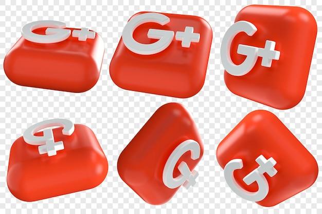 Icone 3d google plus in sei diverse angolazioni illustrazioni isolate