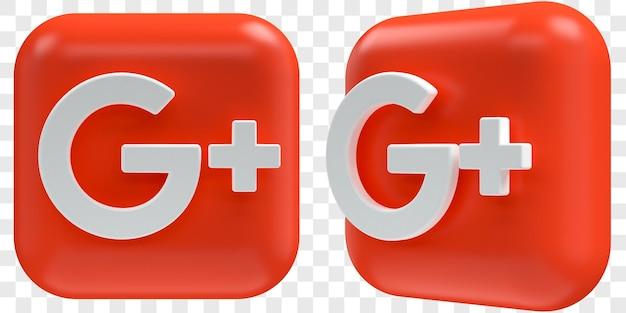 Icone 3d di google plus in due angoli anteriori e illustrazioni isolate di tre quarti