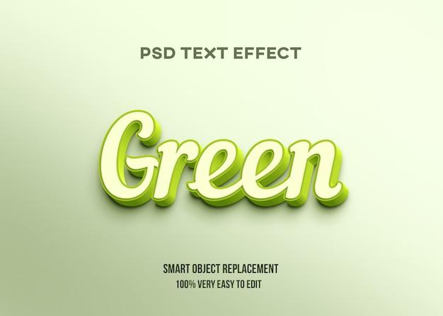 Effetto di testo luminoso verde 3d