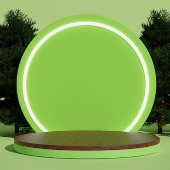 Podio minimo in legno cilindro verde 3d con sfondo circolare e albero per mockup e display del prodotto