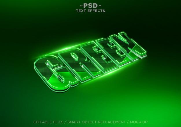 Effetto di testo modificabile verde 3d