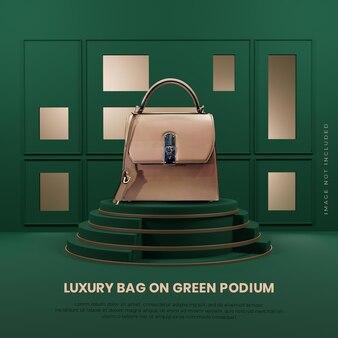 Posizionamento del prodotto sulla fase del podio di lusso elegante dell'oro verde 3d