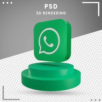 Icona verde logo ruotato 3d whatsapp isolato